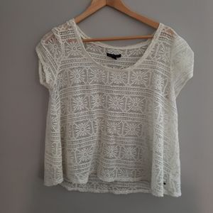 AE White loose fit crotchet top large